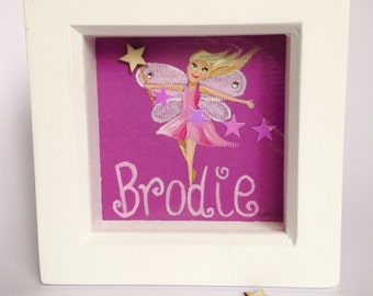 Fairy original small box framed painting / Christmas Elf painting, personalised painting present, perfect Christmas gift for girls or boys