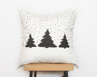 Woodland nursery black and white pillow cover with Tree print