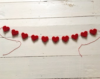 Red Heart Garland, Valentine Decoration, Hand Knitted Banner, Christmas, All Year Round!