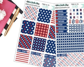 Happy 4th Fourth of July Weekly Kit for Mini Happy Planner