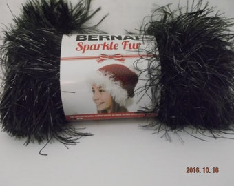 Bernat Sparkle Fur Yarn ~ 50 Grams ~ #87040 Coal ~ # 4 Medium ~