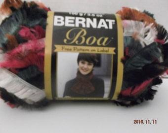Bernat Boa Yarn ~ 100 Grams/3.5 oz ~ 129 Yards ~ Black Burgundy ~ # 5 Bulky ~