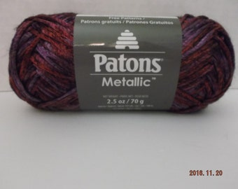 Patons Metallic Yarn ~ Purple Rain (variegated) ~ 70 Grams/2.5 oz ~ 197 Yards ~ #4 Medium ~