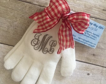 Monogrammed Gloves; personalized gloves; embroidered gloves, Christmas gift, Teacher gift, embroidered gloves