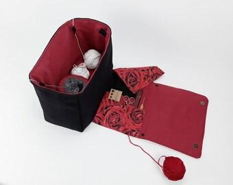 Very large, BIG project bag for knitting or crocheting, XXL, knitting project bag, Field Bag, cosmetic bag, handmade crochet bag