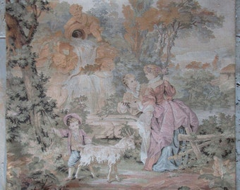 French vintage large romantic tapestry Embroidery Wateau scene w child and goat cherub Gobelin boudoir deco vintage curtains cottage chateau