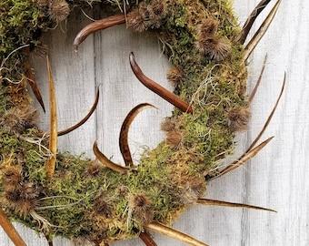 Moss Wreath - Rustic Modern Moss Wreath - Spring Moss Wreath - Primitive Moss Wreath