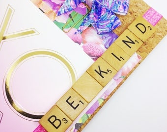Planner Band Today Marker - Be Kind with Scrabble Tiles Planner Bands Page Marker Book Mark Pink RAK