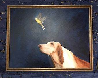 Dog With Bird by Shan Frost