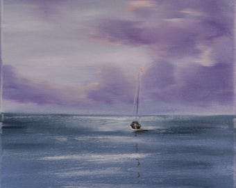 Original Small Oil Painting on Canvas, Sailboat Painting, Sunset Art, Seascape, Ship Painting, Purple Coastal Landscape