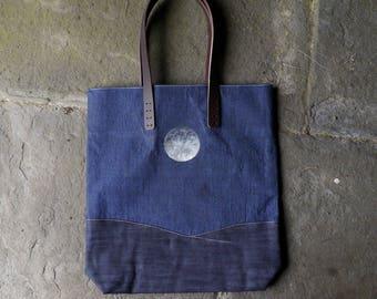 TOTE - Indigo Midnight Blue Block printed Moon
