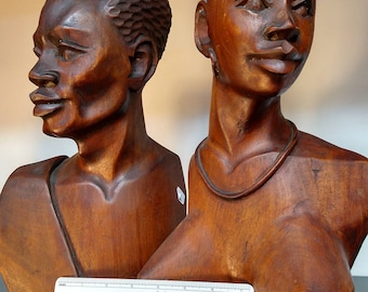 China Berry Wooden African Busts / Pair S#1