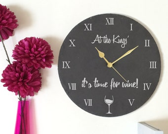 Personalised Clock, Home Wall Clock, Personalised Slate Clock, Slate Clock