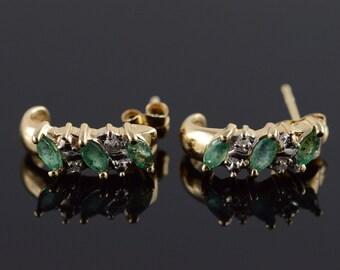 Vintage 10K Yellow Gold Natural Green Emerald & Diamond Half Hoop Earrings
