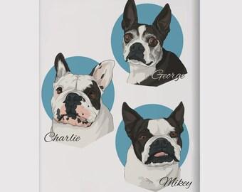 Cartoon Pet Portrait, Pet Portrait Print, Custom Pet Portrait, Custom Pet  Print,  Pet Poster