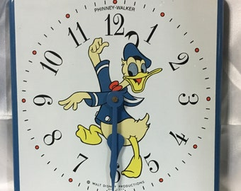 Donald Duck Enamel  Wall Clock Phinney-Walker Walt Disney Productions.