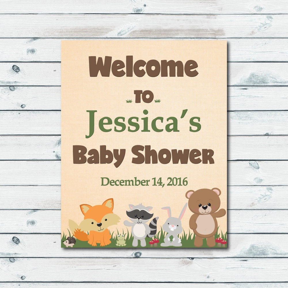 woodland welcome sign baby shower printable personalized