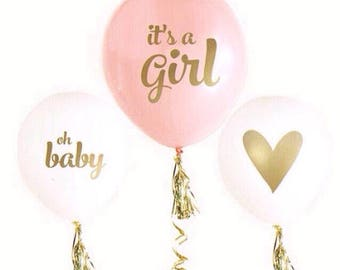 IT'S A GIRL balloons-set of 3-It's a Girl balloons, pink and white girl baby shower balloons