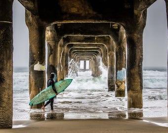 Manhattan Beach Pier Surf Photography Surfer Print Manhattan Beach California Coastal Beach Decor California Wall Art California Coast