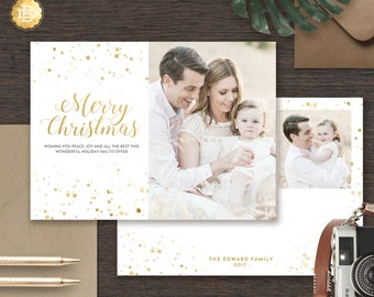 Holiday Card Template, Christmas Greeting Card Photoshop Template, Merry Christmas Card Template for Photographer - INSTANT DOWNLOAD - HC002