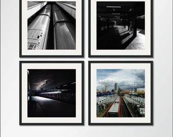 The Tube Collection: Set of four square London Underground prints, London Photography, London Underground, London Tube, Tube Print, Metro