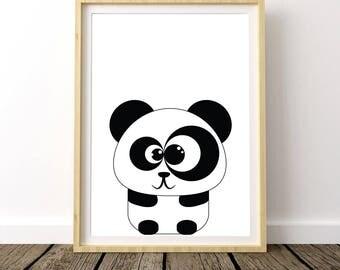 Baby Panda Nursery, Baby Panda Print, Baby Panda Wall Art, Nursery Decor Panda, Minimalist Nursery, Monochrome Nursery, Cute Panda Print