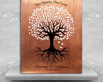 Personalized Gift For Gay Couple Same Sex Marriage Minimalist Feminine Tree Two Hearts One Love Custom Art Print Paper Canvas or Metal 1418