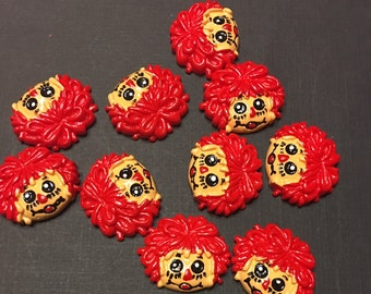 SALE: Kawaii Raggedy Ann Cartoon Cabochons Scrapbooking Decoden Hair Bow Center 4 pcs