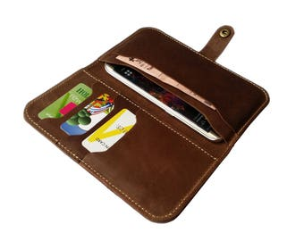 iPhone 6 Wallet Case iPhone 6S Leather Case Leather Phone Wallet - Brown
