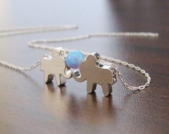 Elephant necklace, Opal elephant necklace, Baby elephant, Silver opal elephant necklace, Gift for her, Lucky charm, Opal jewelry