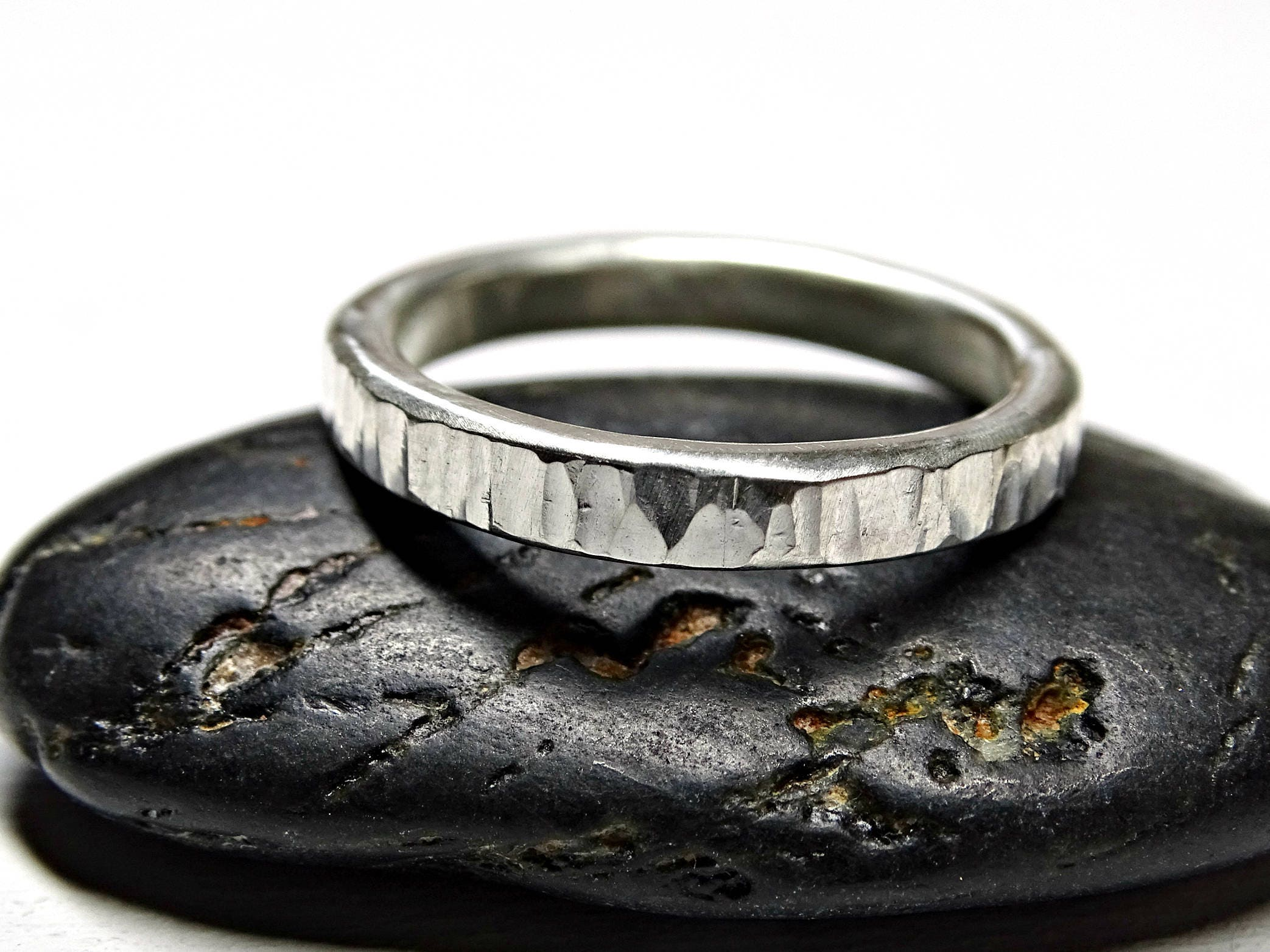 silver wood grain ring grass ring silver wedding band