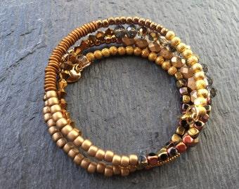 Winter sun memory wire cuff bracelet