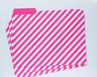 Pink and white candy stripe file folder A4