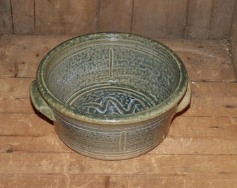 Hand Thrown Pottery Bowl with Handles -  1026