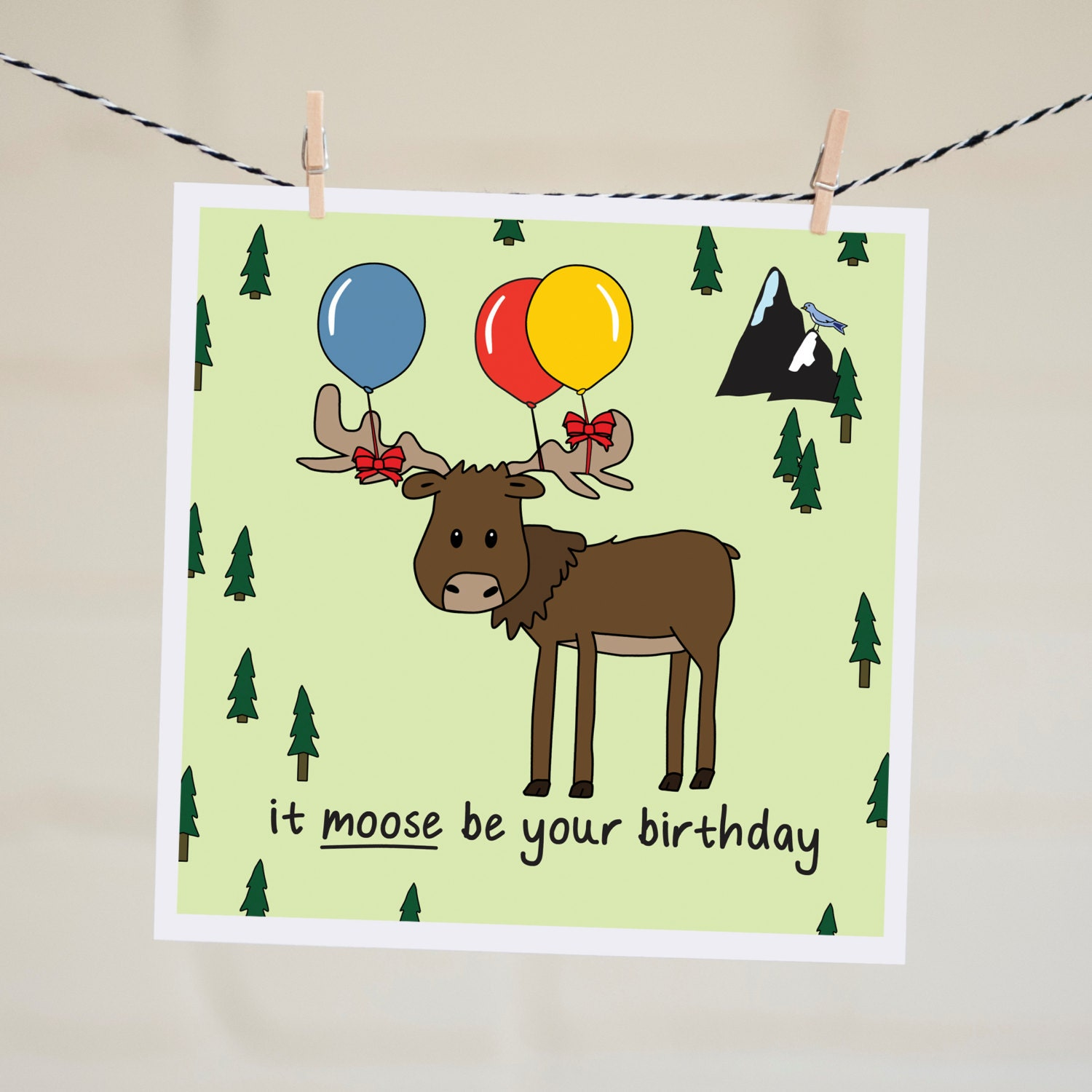 Moose Birthday Card Gangcraft