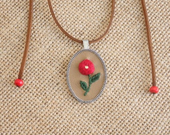 Handmade Necklace with Embroidered Flower