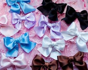 Pair of bows satin | accessories hair | black, white, pink, blue, lilac, brown