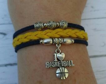 Custom Girl's Sports Bracelet// Basketball Bracelet// Yellow and Navy// Basketball Mom// Basketball Gift// Choose Team Colors & Sports Charm