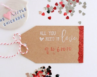 Luggage Tag Gift Tag, Name Tag, Kraft Tag, Glitter Dipped Tag, Wedding Place Card, Wedding Stationery, Kraft Stationery