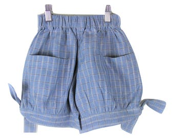 Denim blue linen shorts