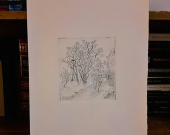 Spring trees intaglio print, budding trees print, city park trees print, etched leafy trees, summer forest etching, spring park print