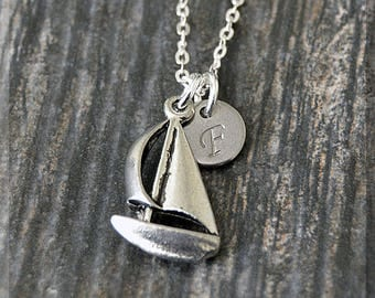 Silver Sailboat Charm Necklace, Initial Charm Necklace, Personalized, Sail Boat Pendant, Nautical Jewelry, Monogram Boat Necklace