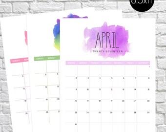 Printable Calendar 2017, Watercolor Calendar, Watercolor Splash Calendar, Monthly Calendar, Watercolor, Monthly Planner, Calendar pages