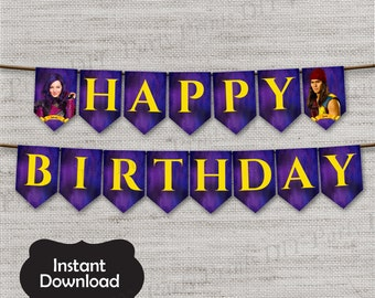 Descendants Birthday Banner,Descendants,Descendants Banner,JPG file,Birthday Banner,Mal,Evie,Carlos,Jay,Villains Kids,DPP04