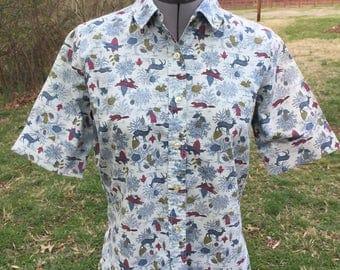 Vintage blue woodland print cropped blouse 1950s