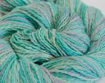 "264 Yards Dk weight - Handspun and Hand-Dyed Wool Yarn, in ""Sea Foam"" colorway"