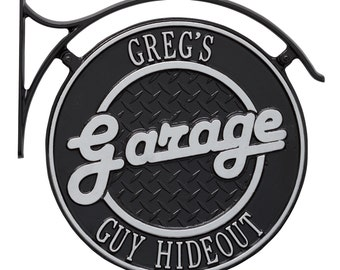Garage Plaque Two Line Personalized Hanging Man Cave Sign w/bracket