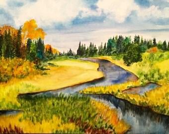 Meandering Stream in Fall - Original Watercolor