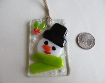 Handmade Fused Glass Snowman Ornament
