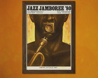 Jazz Music Print 1980 - Jazz Poster Polish Print Vintage Music Poster Jazz Print Music Festival Art Poster Birthday Gift Idea